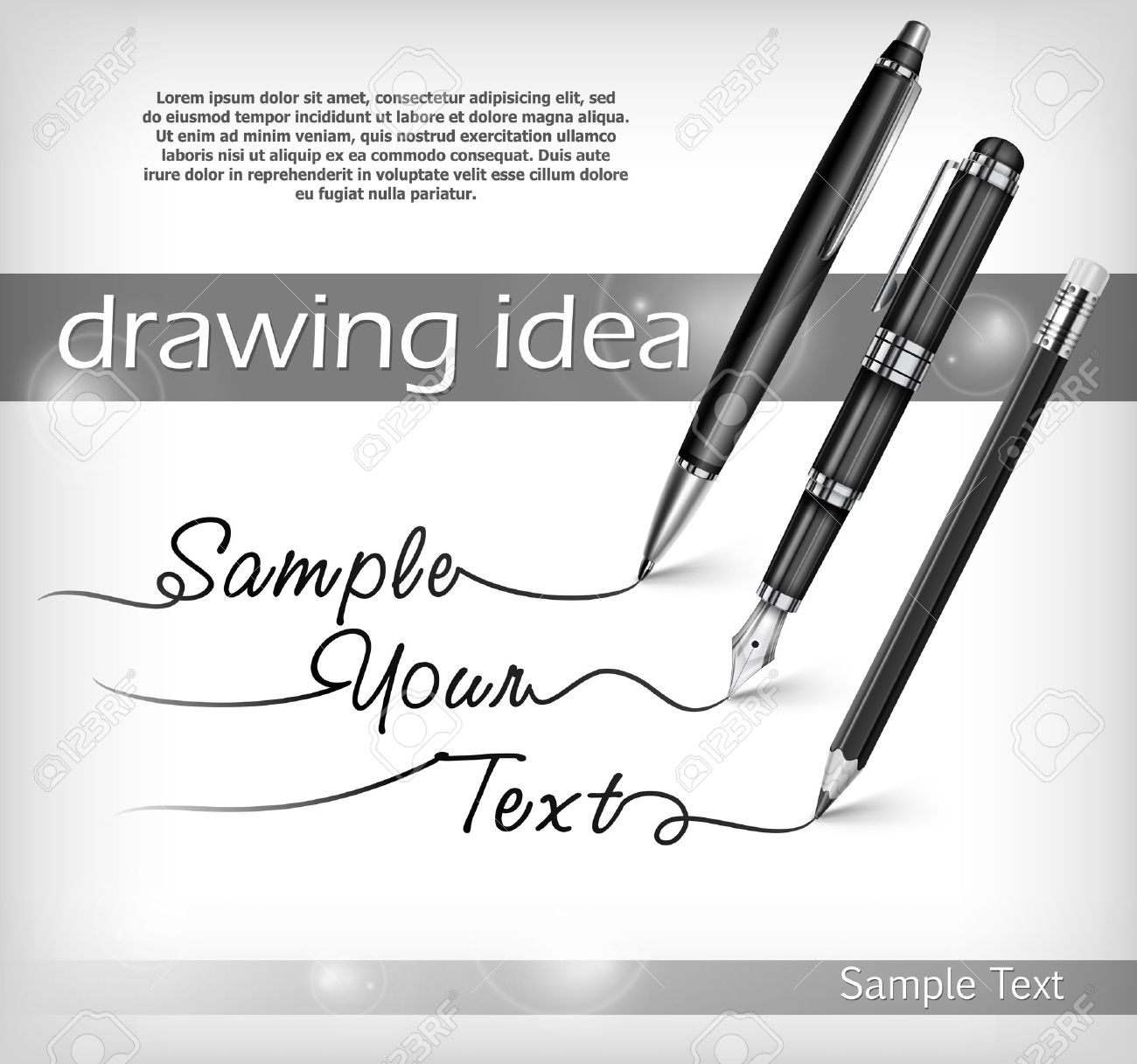 Ball pen, pencil, fountain pen signs and text, vector illustration Stock Vector - 18376401