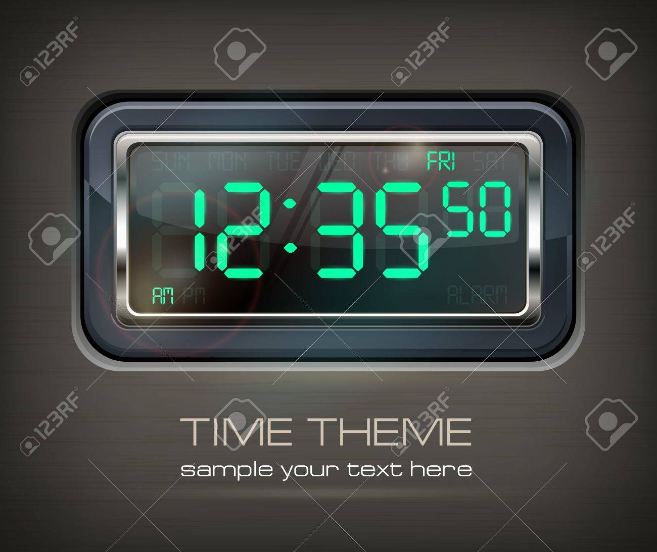 Digital watch black with green dial & text - 18962073