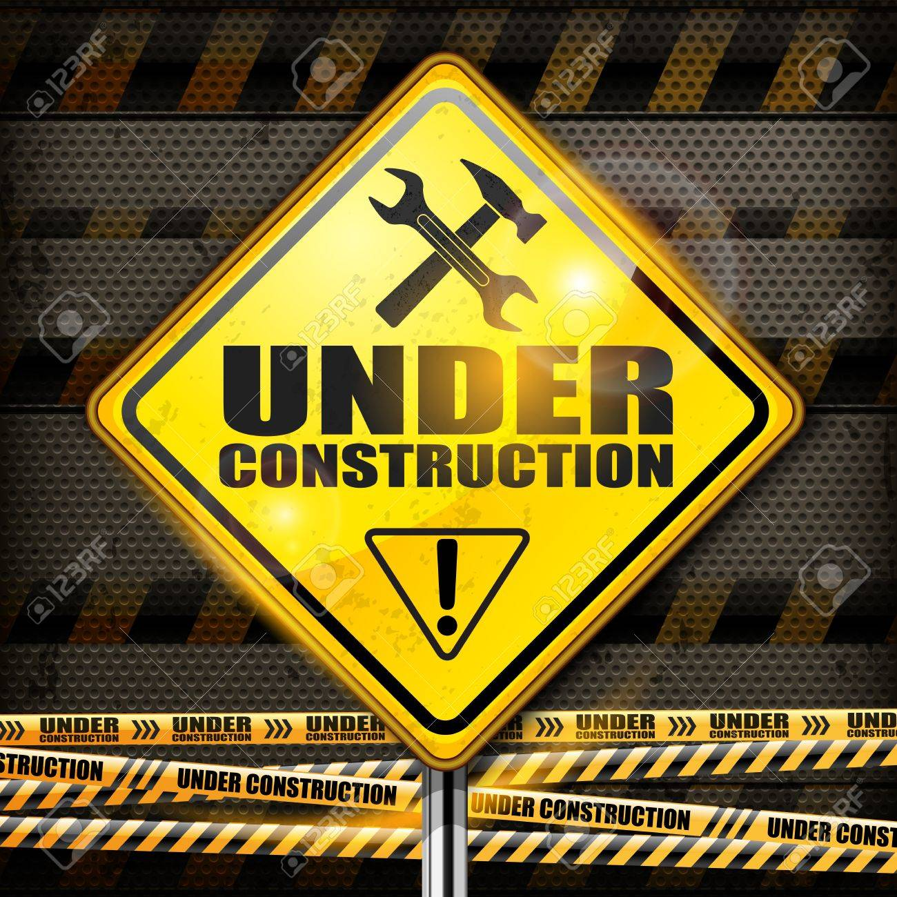 Under construction sign yellow rhombus on black background,  illustration Stock Vector - 19840939