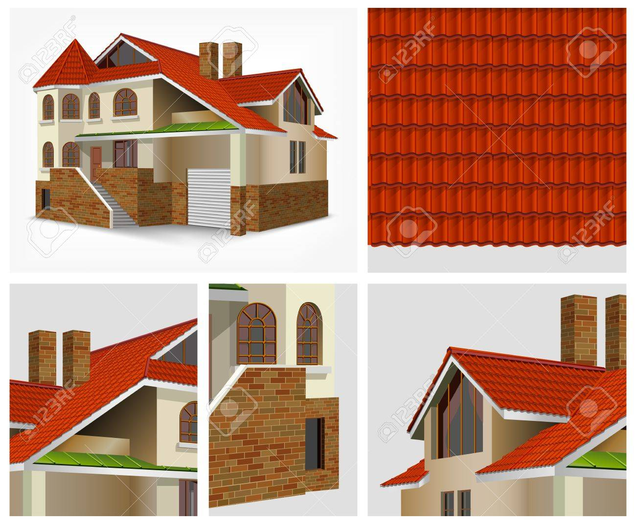 Details of house with red roof tiles in section Stock Vector - 20379191