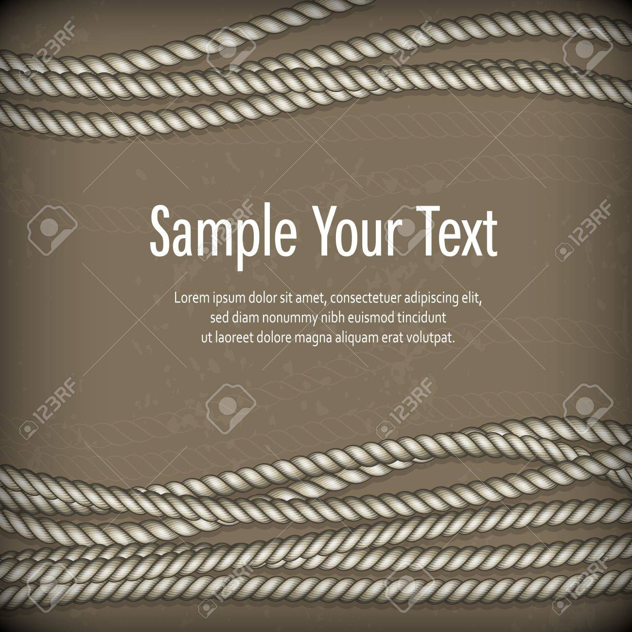 Set of ropes on brown background and text Stock Vector - 20379185