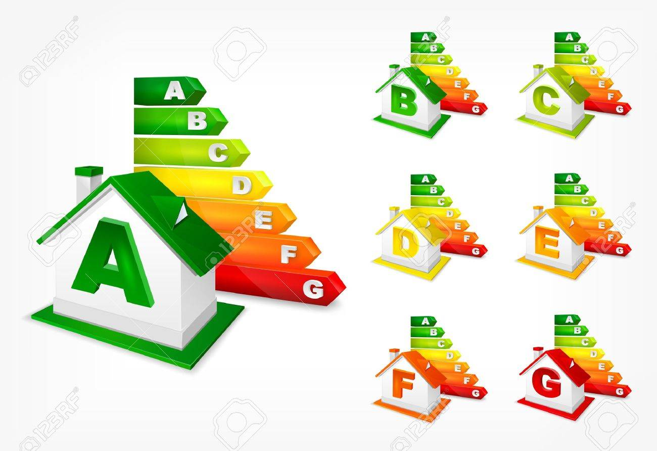 Different energy efficiency rating color and house, vector illustration Stock Vector - 20482945