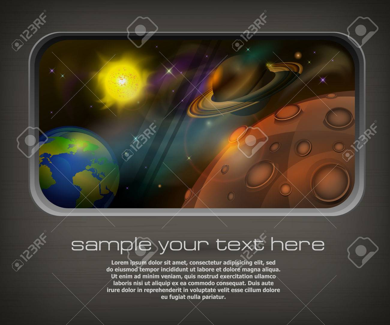 View from window to open space, planets, sun and star   text, illustration Stock Vector - 22719952