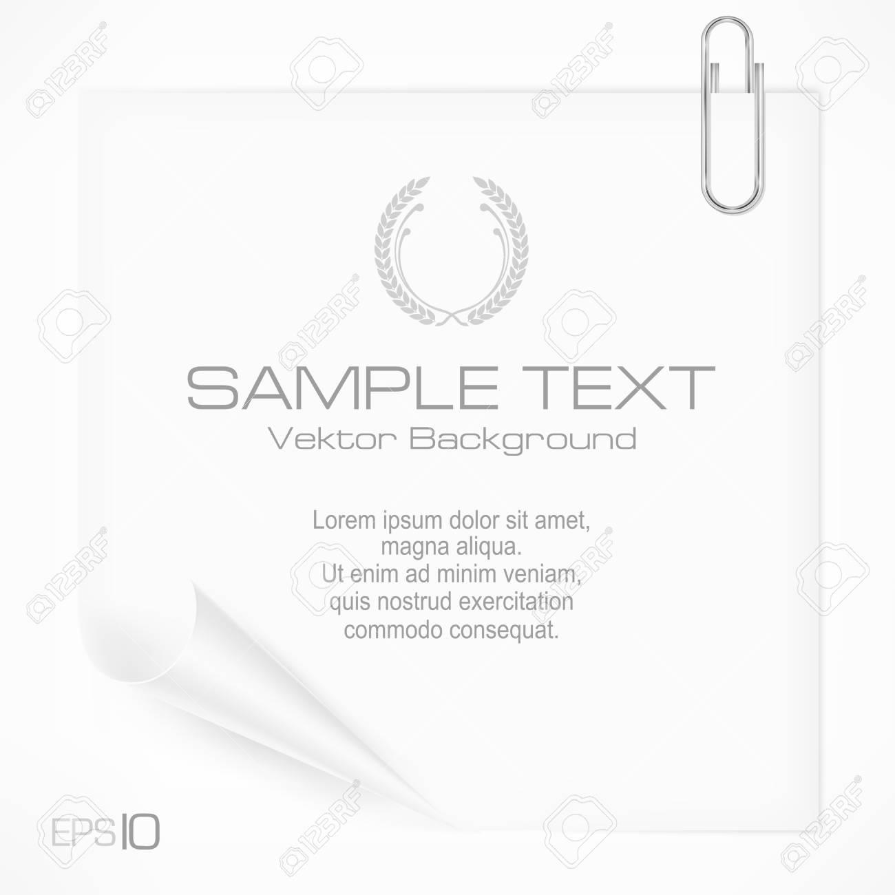 Metallic clip on white paper sheet   text, vector illustration Stock Vector - 22730927