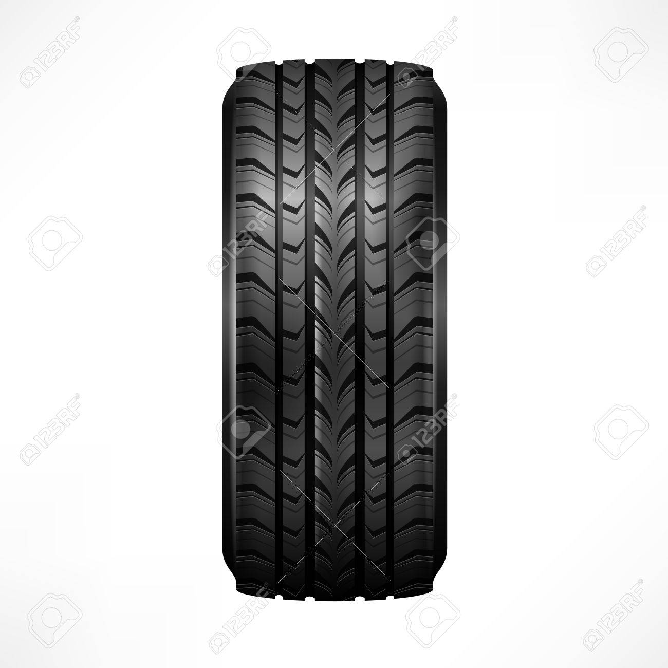 Black rubber tire on white background, vector illustration Stock Vector - 23112090