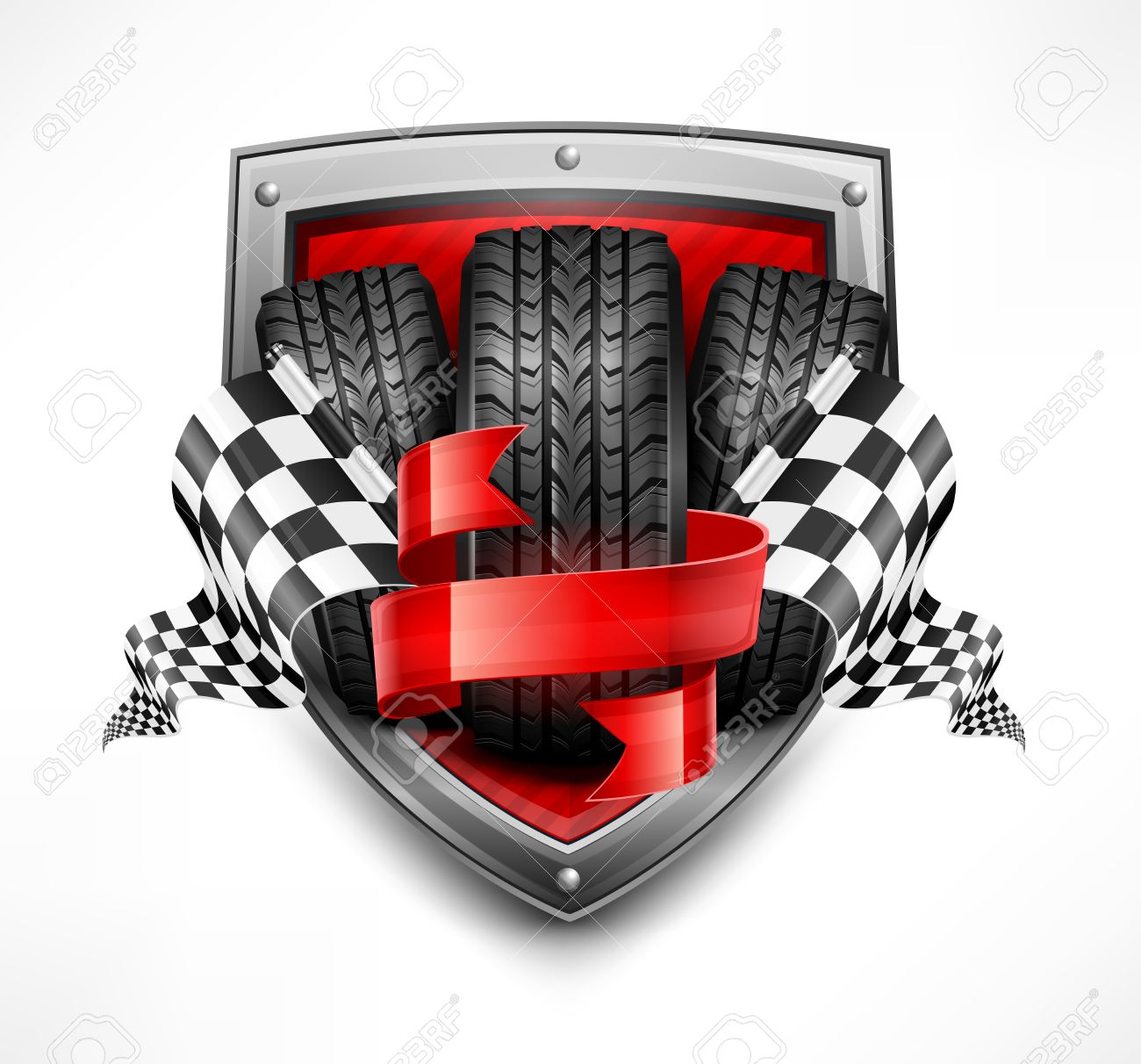 Racing Symbols On Shield, Tires, Ribbon And Flags, Vector ... for Racing Tire Vector  53kxo
