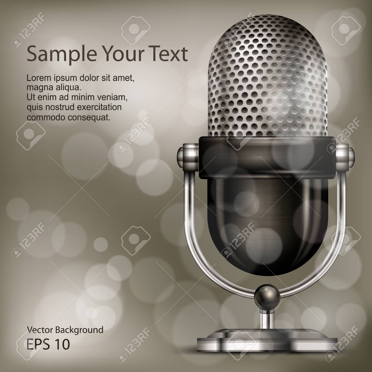 Retro Microphone Vintage Silver Microphone Slowly Rotating On ...