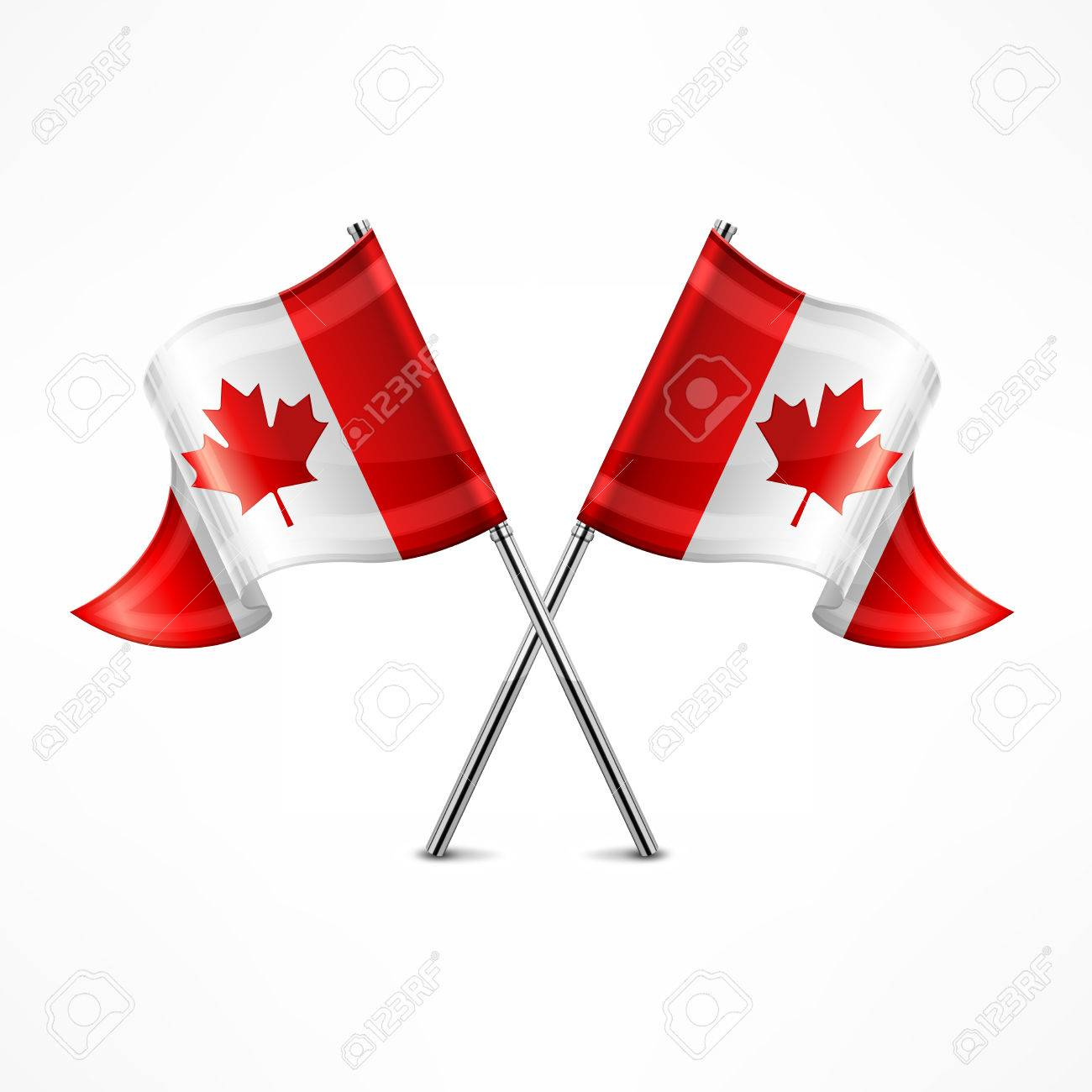 two crossed canadian flag isolated on white vector illustration
