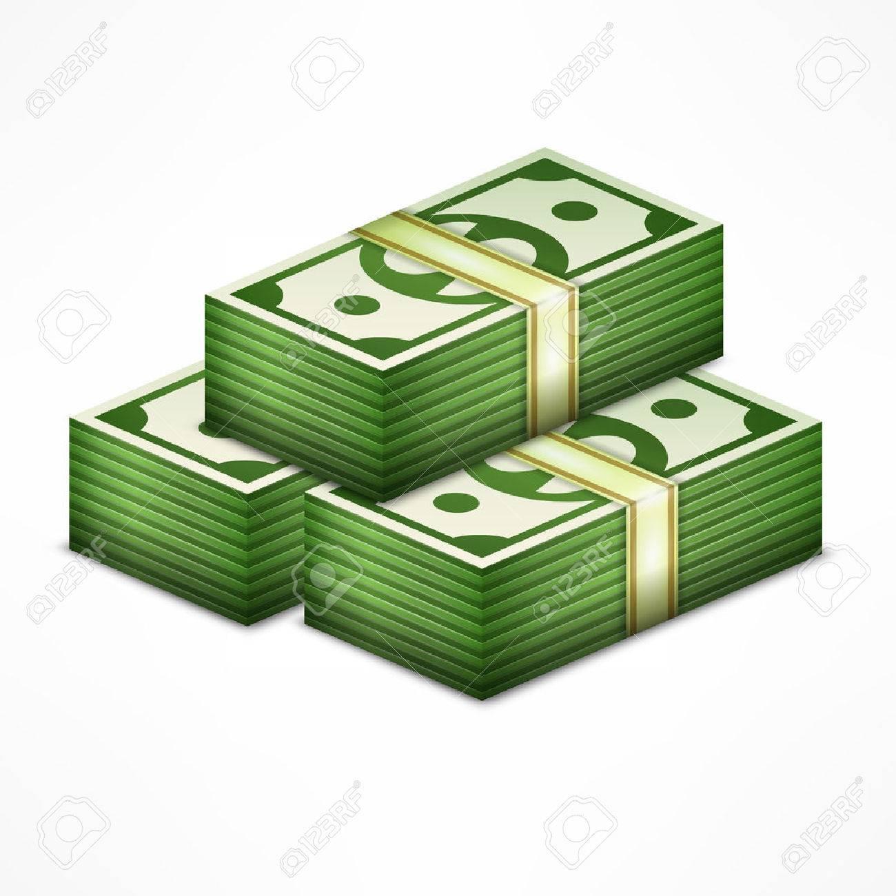 Piles of money stack, cash dollar on white, vector illustration - 55287703