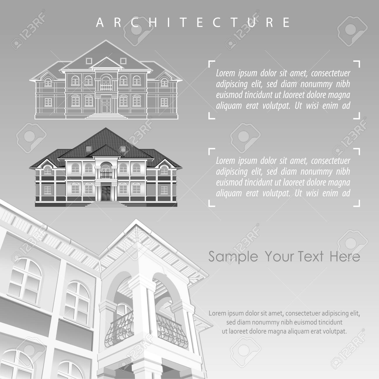 Architectural Plan Of Building Facade With Terrace Cottage