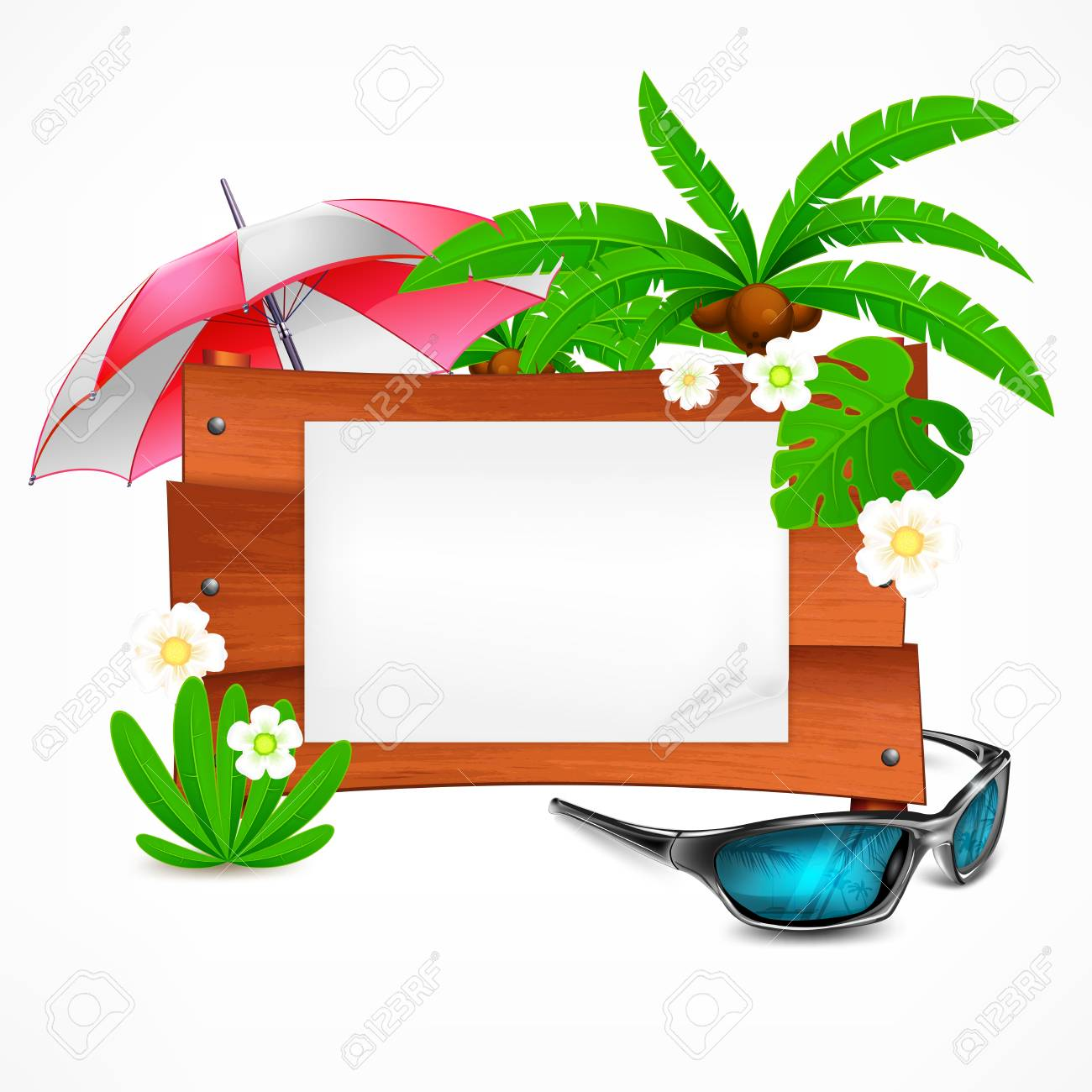 Summer Wooden Sign Board On White Plank For Notice Vector Illustration Royalty Free Cliparts Vectors And Stock Illustration Image 136597623