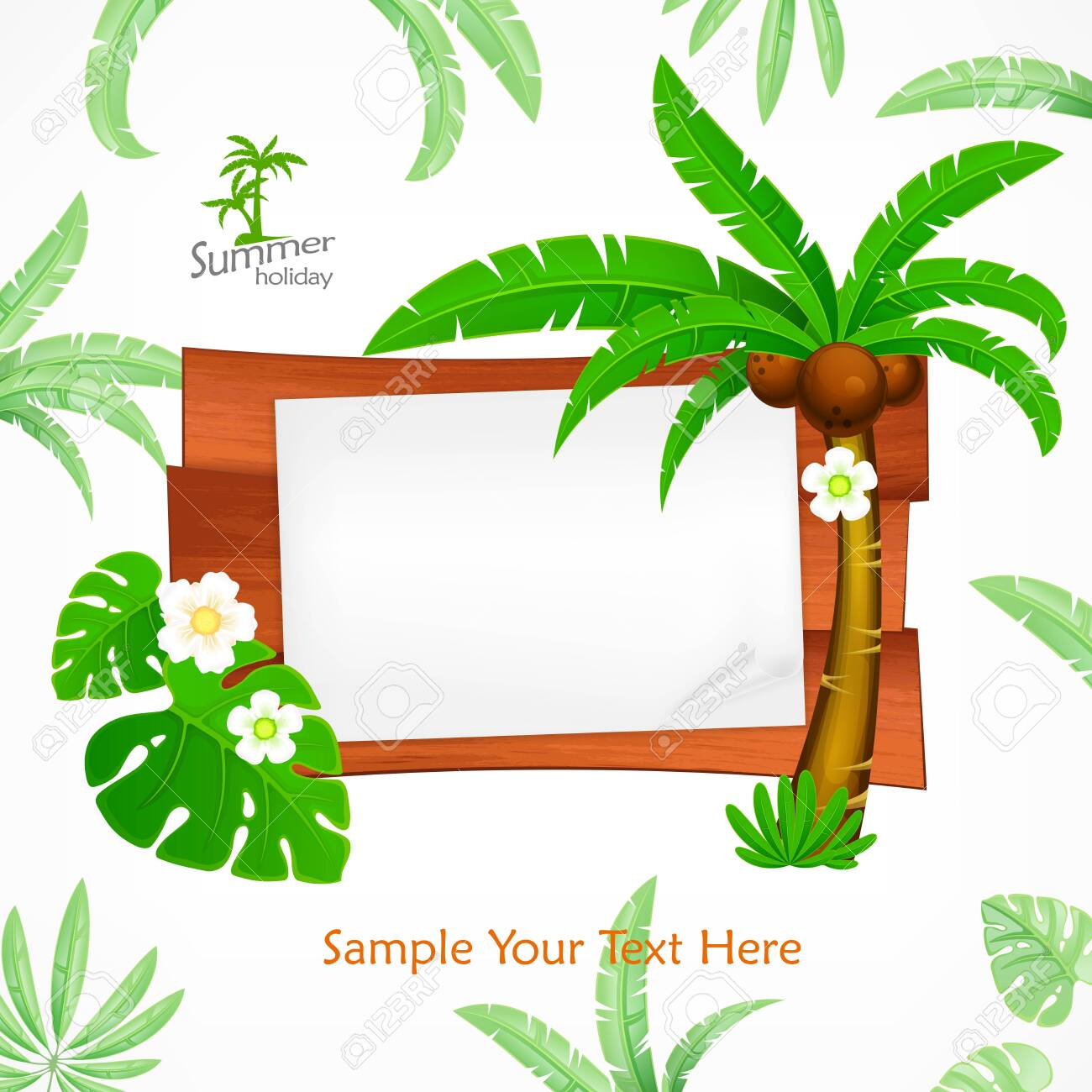 Summer Wooden Sign Board Plank For Notice Royalty Free Cliparts Vectors And Stock Illustration Image 123823572