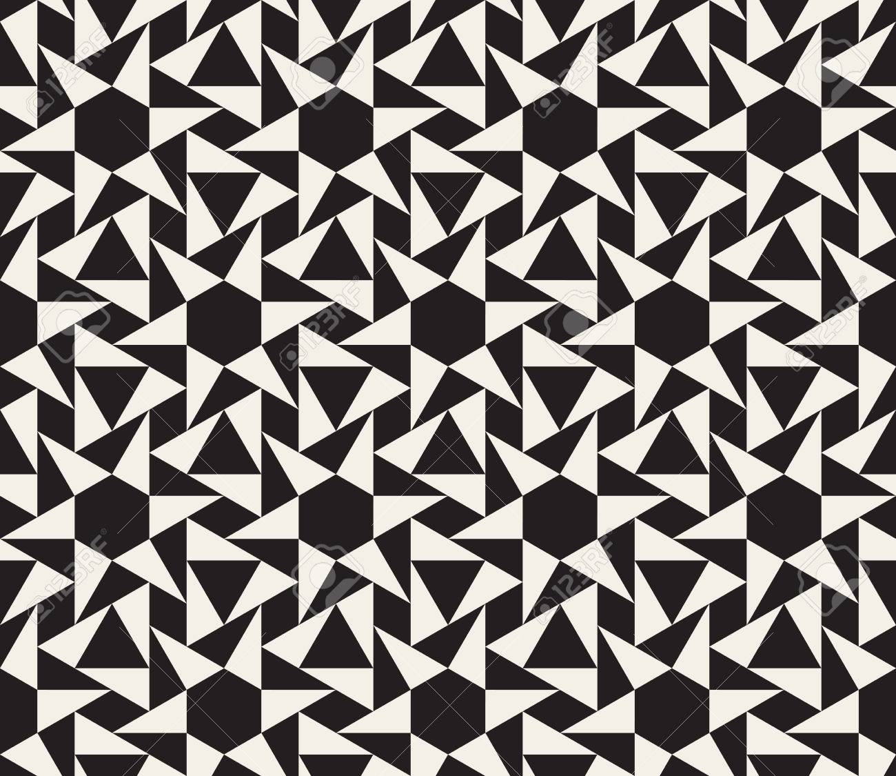 Seamless Black And White Geometric Tessellation Pattern Abstract