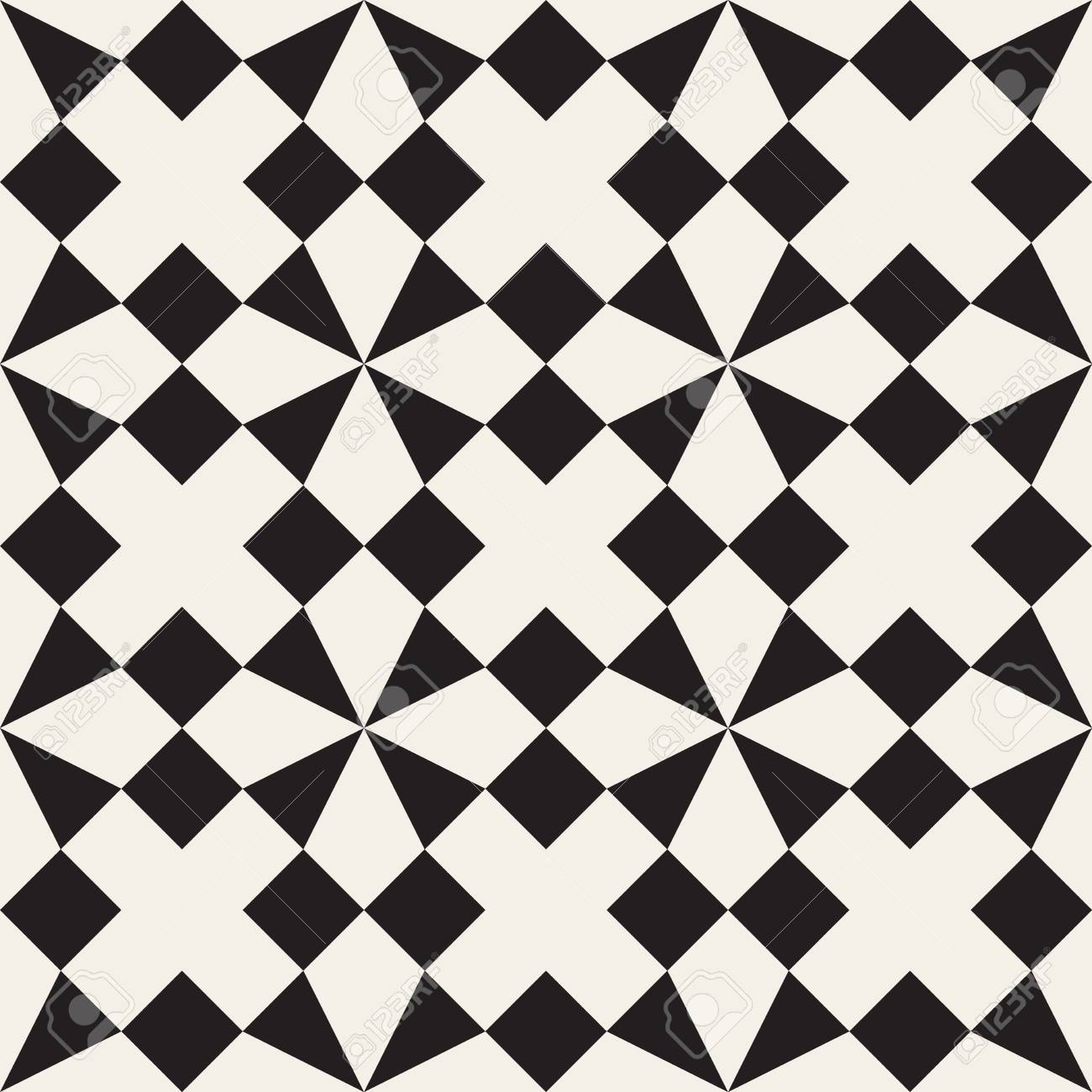 Seamless Black And White Triangle Square Geometric Tessellation Pattern Abstract Background Stock Vector