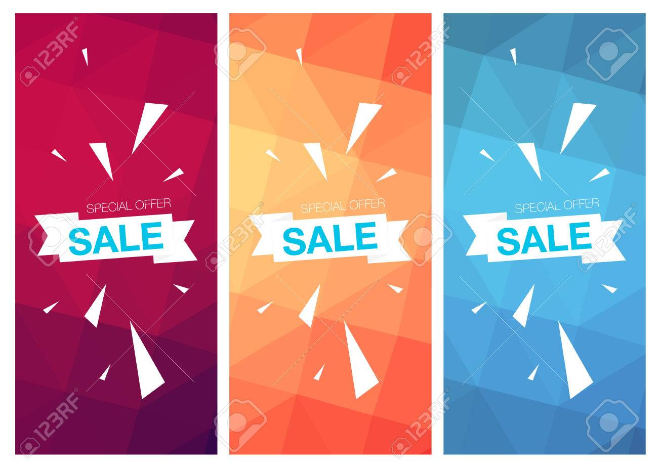 Super Sale Special Offer Web Banner Templates On Colored ...