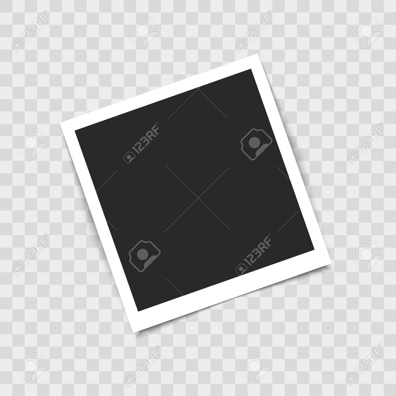 Realistic empty photo frame on transparent background. Vector illustration for your design - 126198401