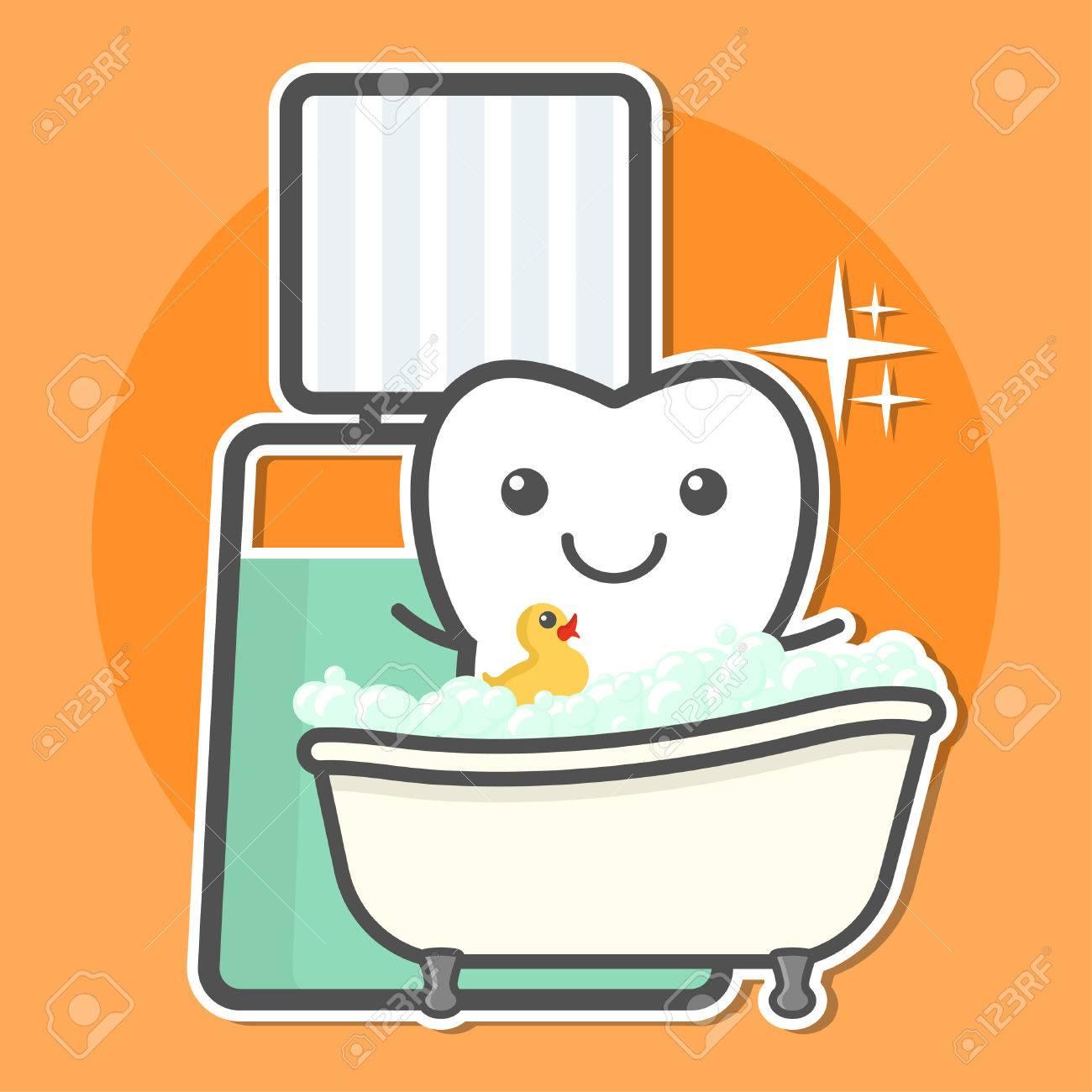 Tooth Take A Bath Of Mouthwash. Teeth Hygiene Concept. Dental ...