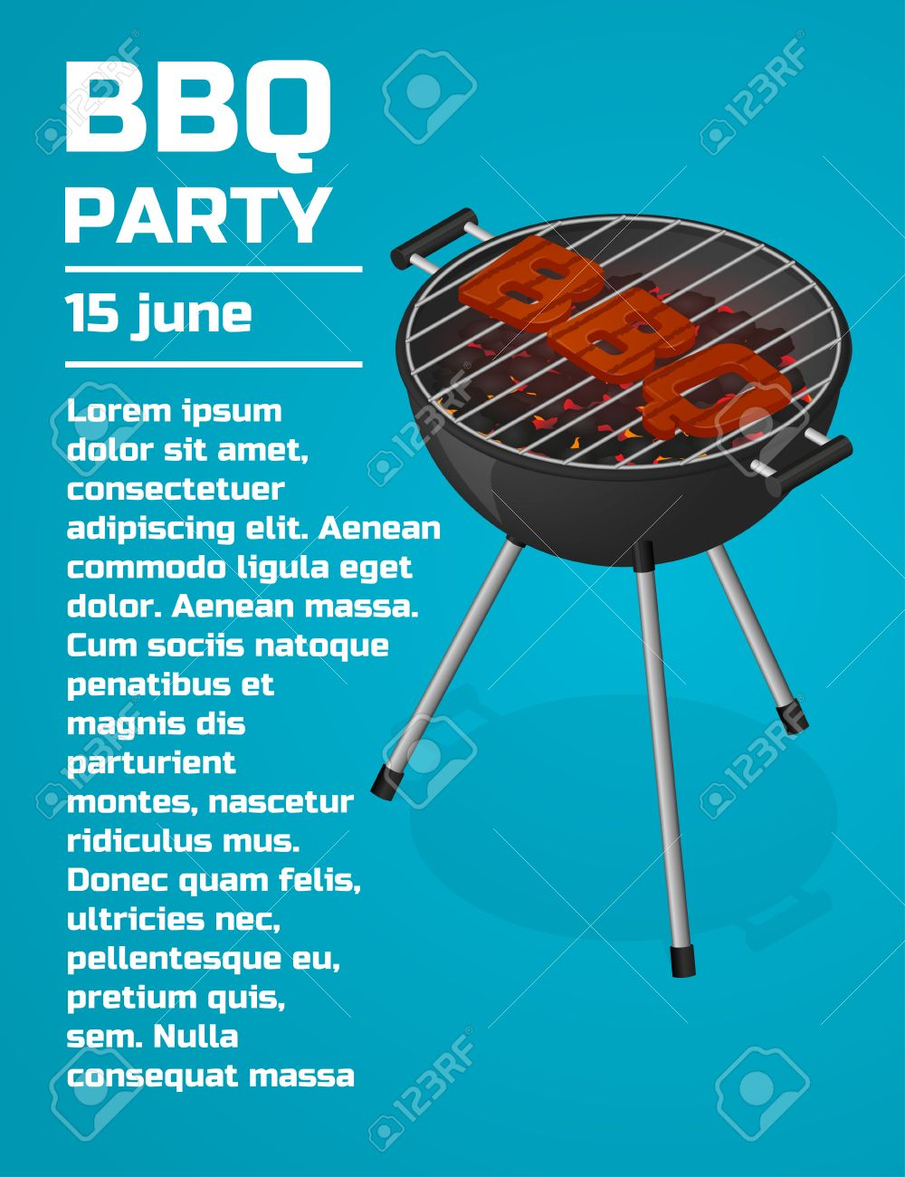 BBQ Party Invitation Background. Barbecue Grill Brochure Template ...