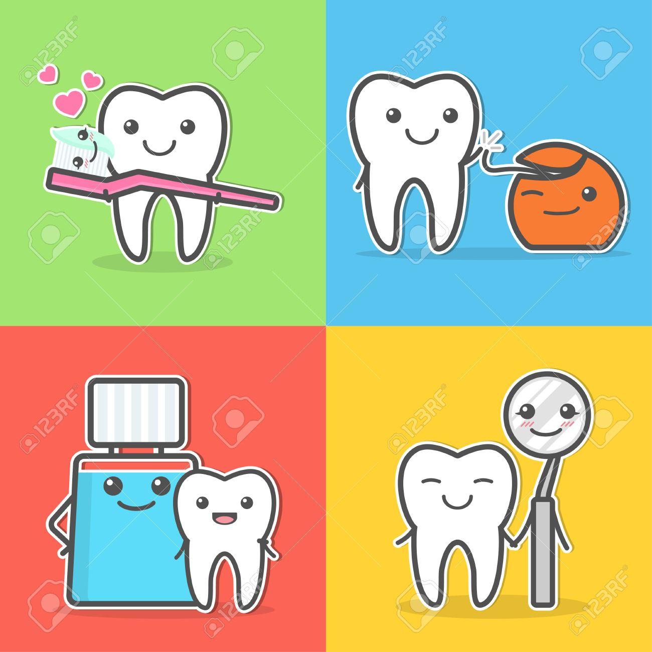 漫画の歯のケアと衛生。口腔衛生...