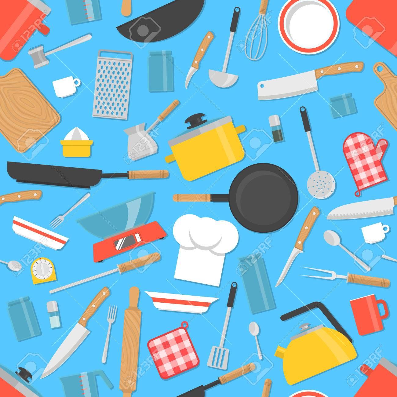 Kitchen Tools Seamless Pattern. Cooking Utensils Background ...