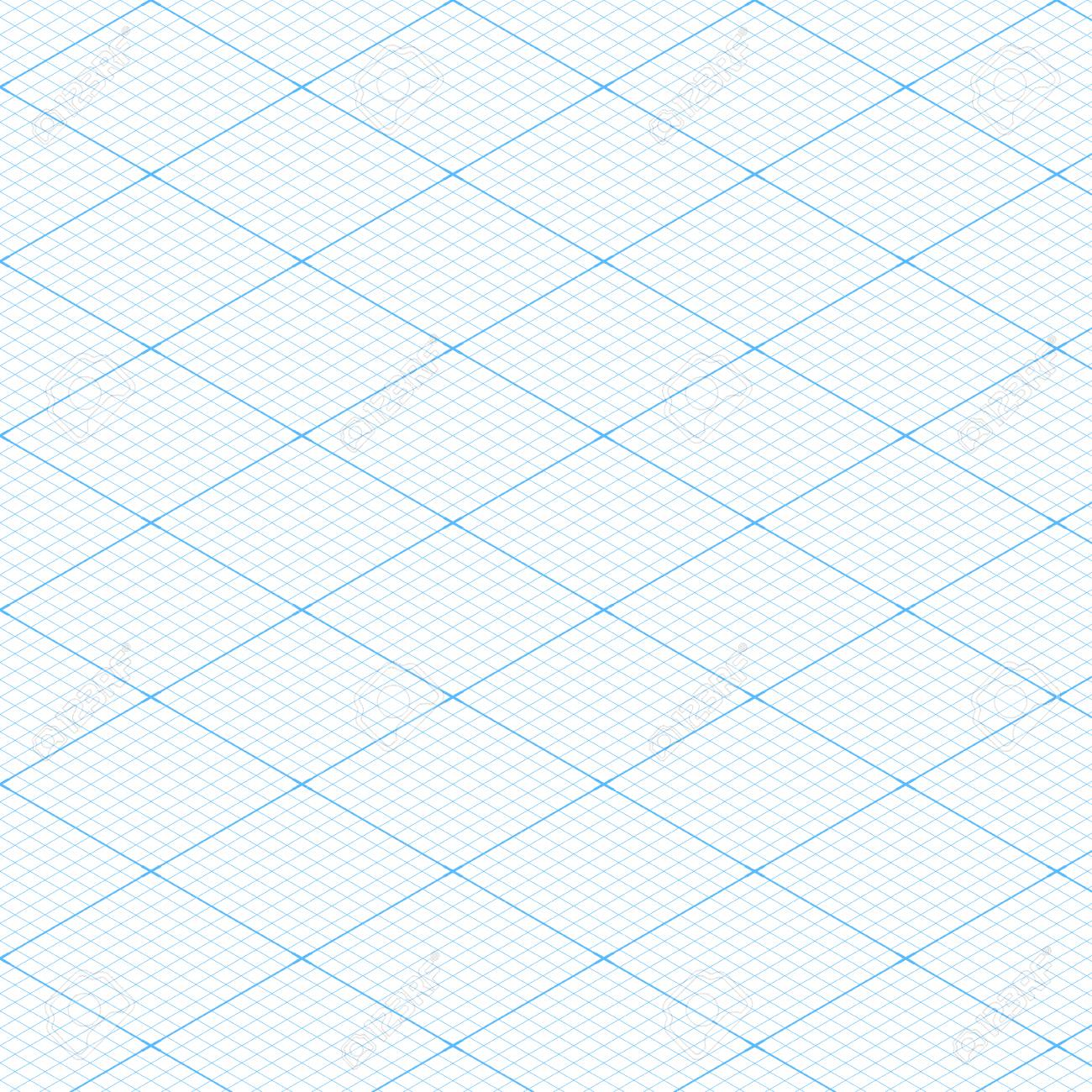 Vector   White Isometric Blueprint Grid Seamless Pattern Background  Texture. Vector Illustration