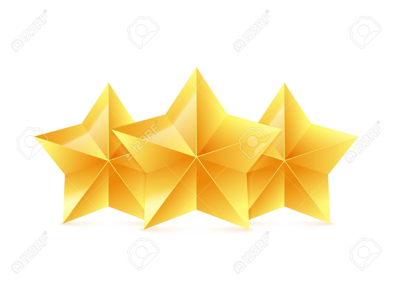 three 3d gold stars on white background victory award vector