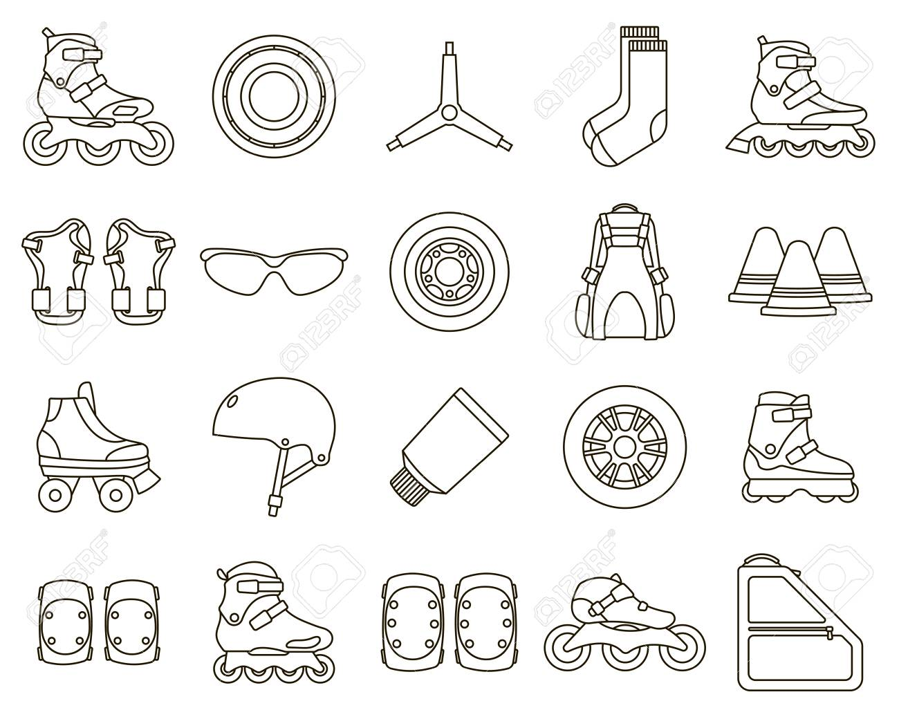 Set of Inline Roller Skates and accessories icons isolated on white background. Outline vector illustration. - 127490758