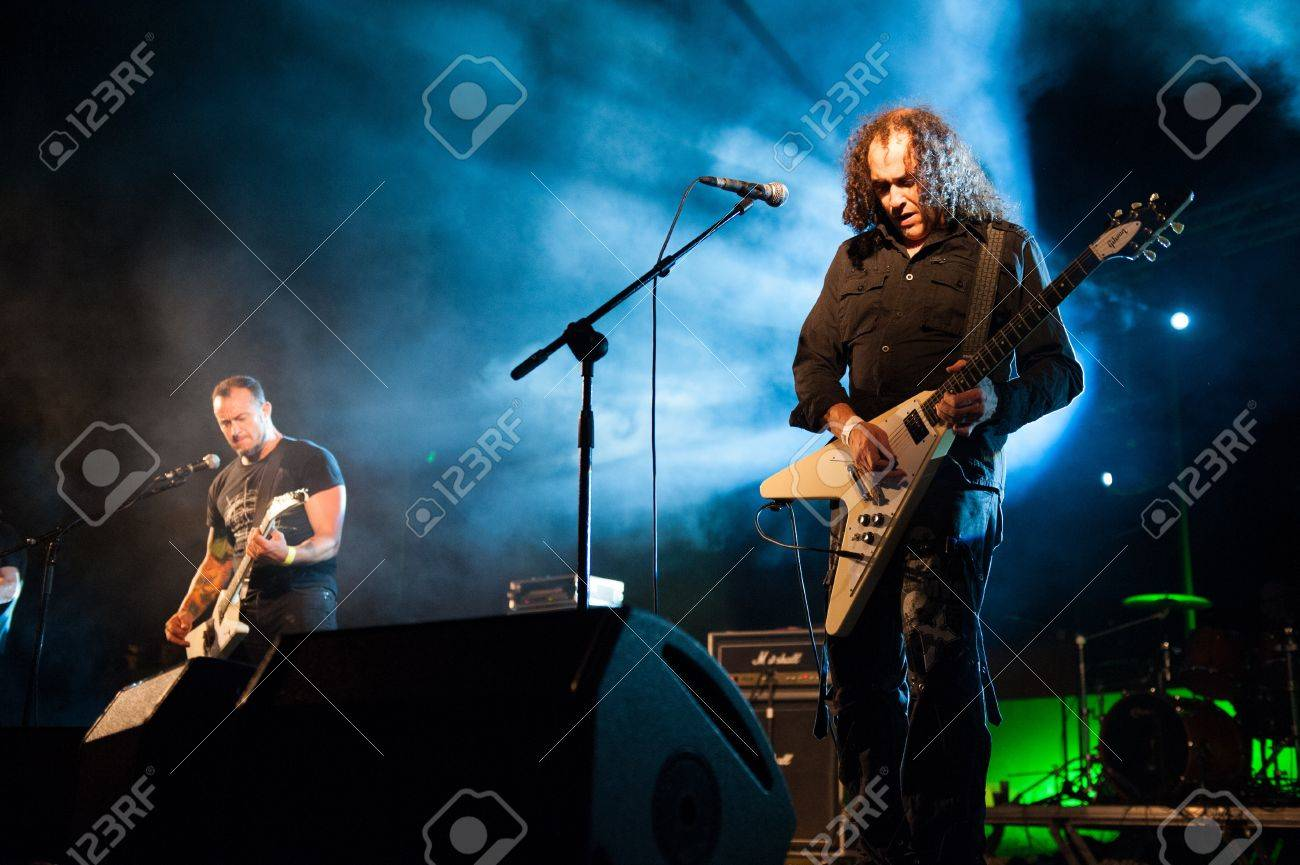 CANARY ISLANDS, SPAIN-JUNE 30: Brigido Duque(l) and Rafael Redin(r) from the band Koma, from Navarra in Spain, perform during Cebollinazo Rock in Galdar on June 30, 2012 in Canary Islands, Spain Stock Photo - 14335536