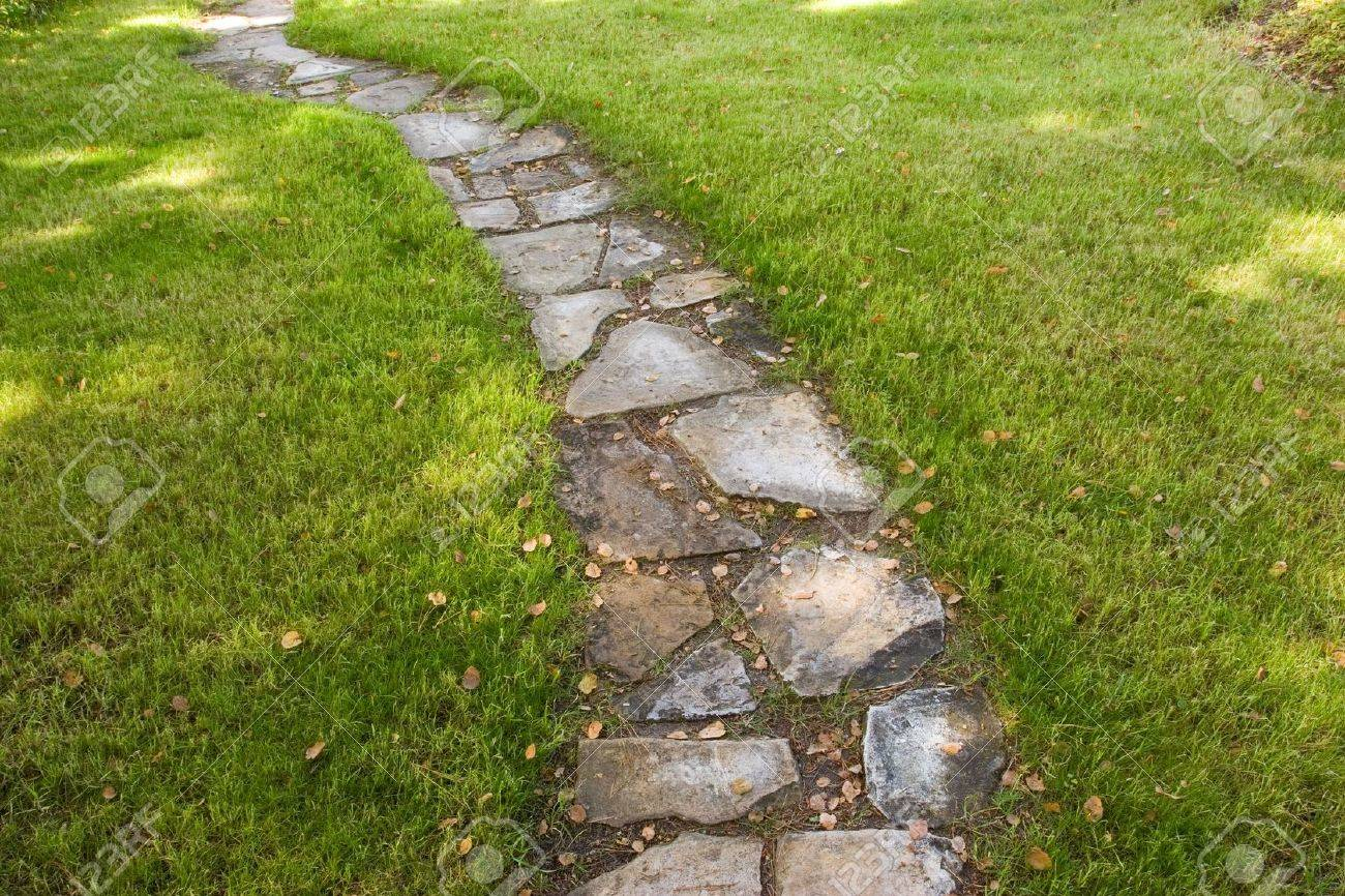 a stepping stone pathway surrounded by green grass stock photo