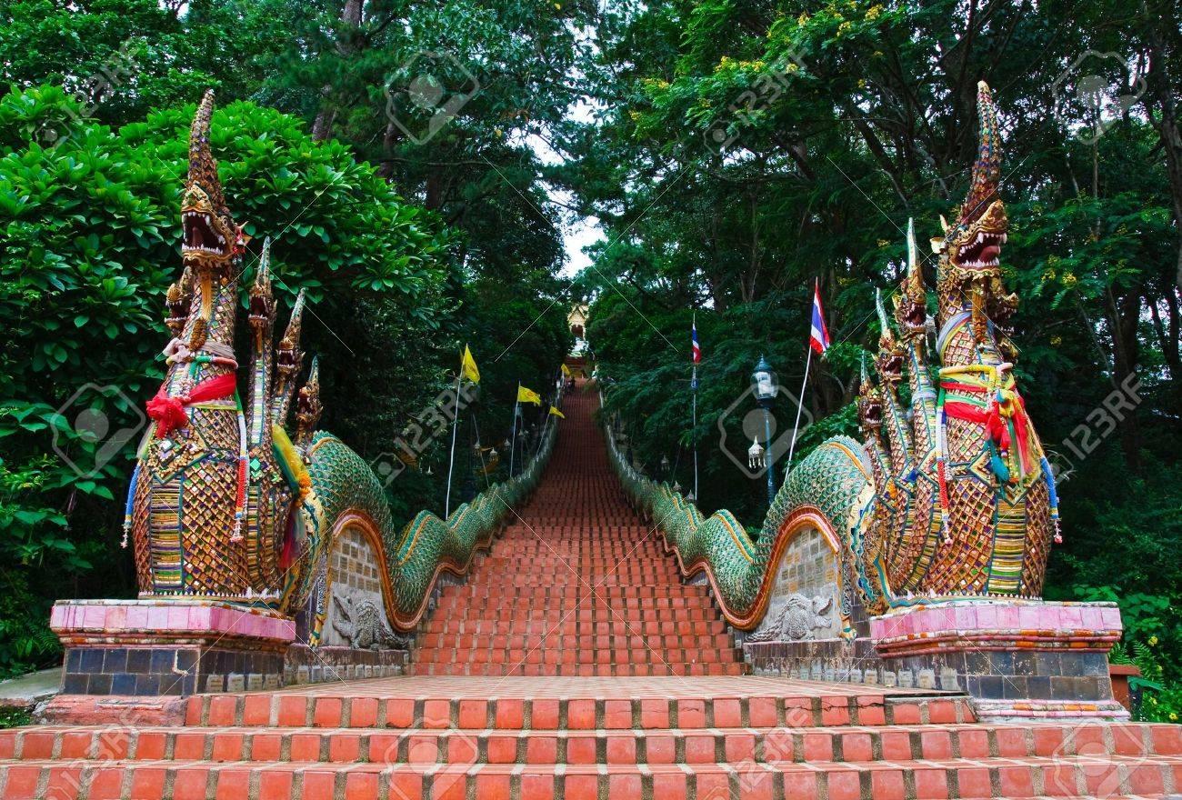 Nagas stairs at Wat Doi Suthep temple, Chiang Mai - 7469976