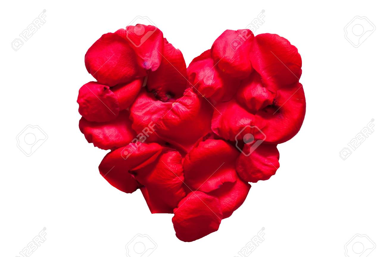 Red hromantic heart made by rose petals Stock Photo - 8897217
