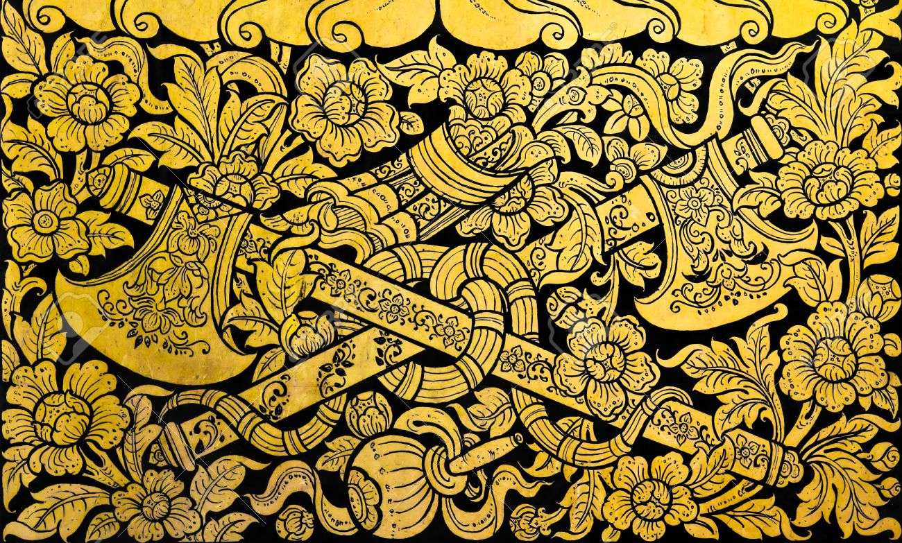 Golden Thai Cross Axe Pattern On Black Wall Decoration In Temple ...