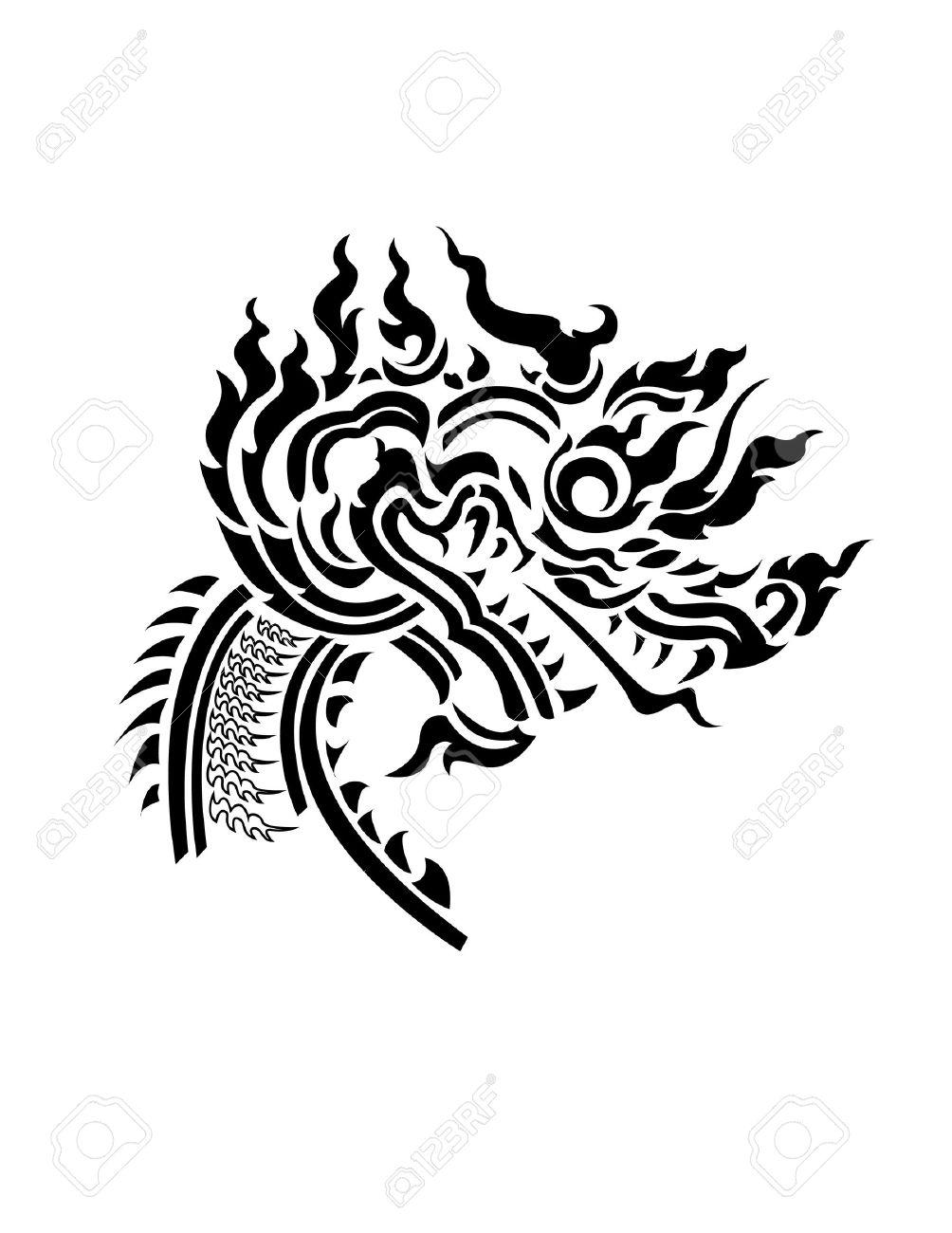 Dragon head Thai style pattern - 17692861