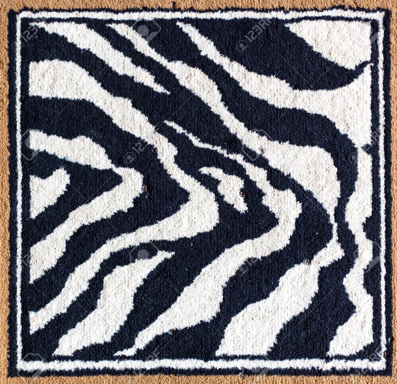 black rug texture. Black And White Tiger Pattern Rug Texture Surface Stock Photo - 20073557