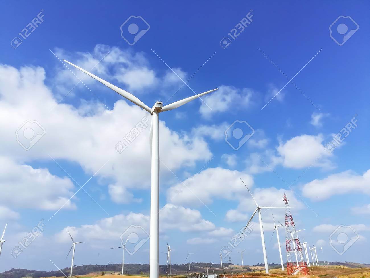 Electricity wind turbines field for generate alternative power with blue sky - 106266837