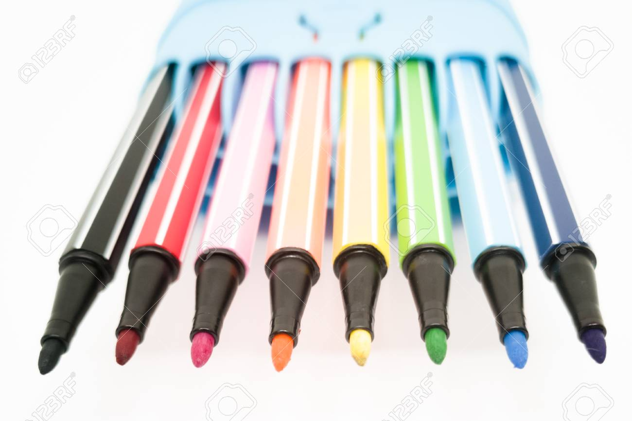 Set of colorful marker paint pen isolated against white background - 106223049