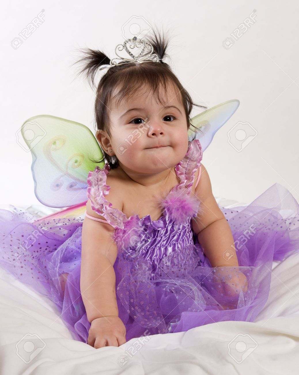 beautiful baby girl in princess fairy costume stock photo, picture