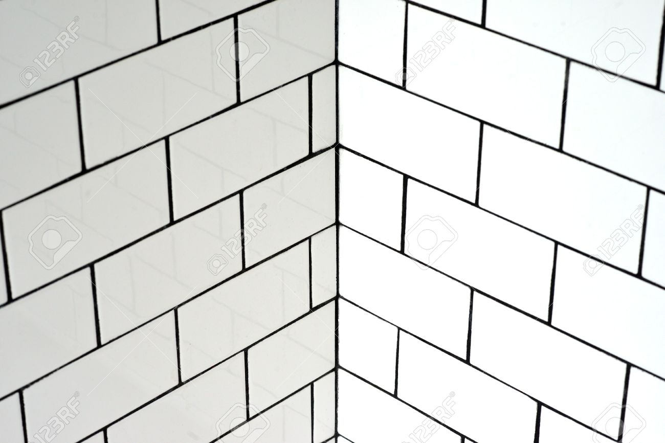 Black grouting bathroom - White Vintage Metro Tiles And Black Grout In A Bathroom Stock Photo 56283595