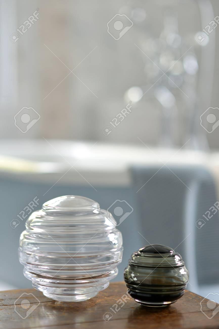 Round Decorative Glass Storage Jars In A Bathroom