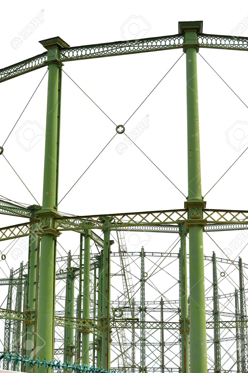 Old decommissioned steel gas holder structure, London