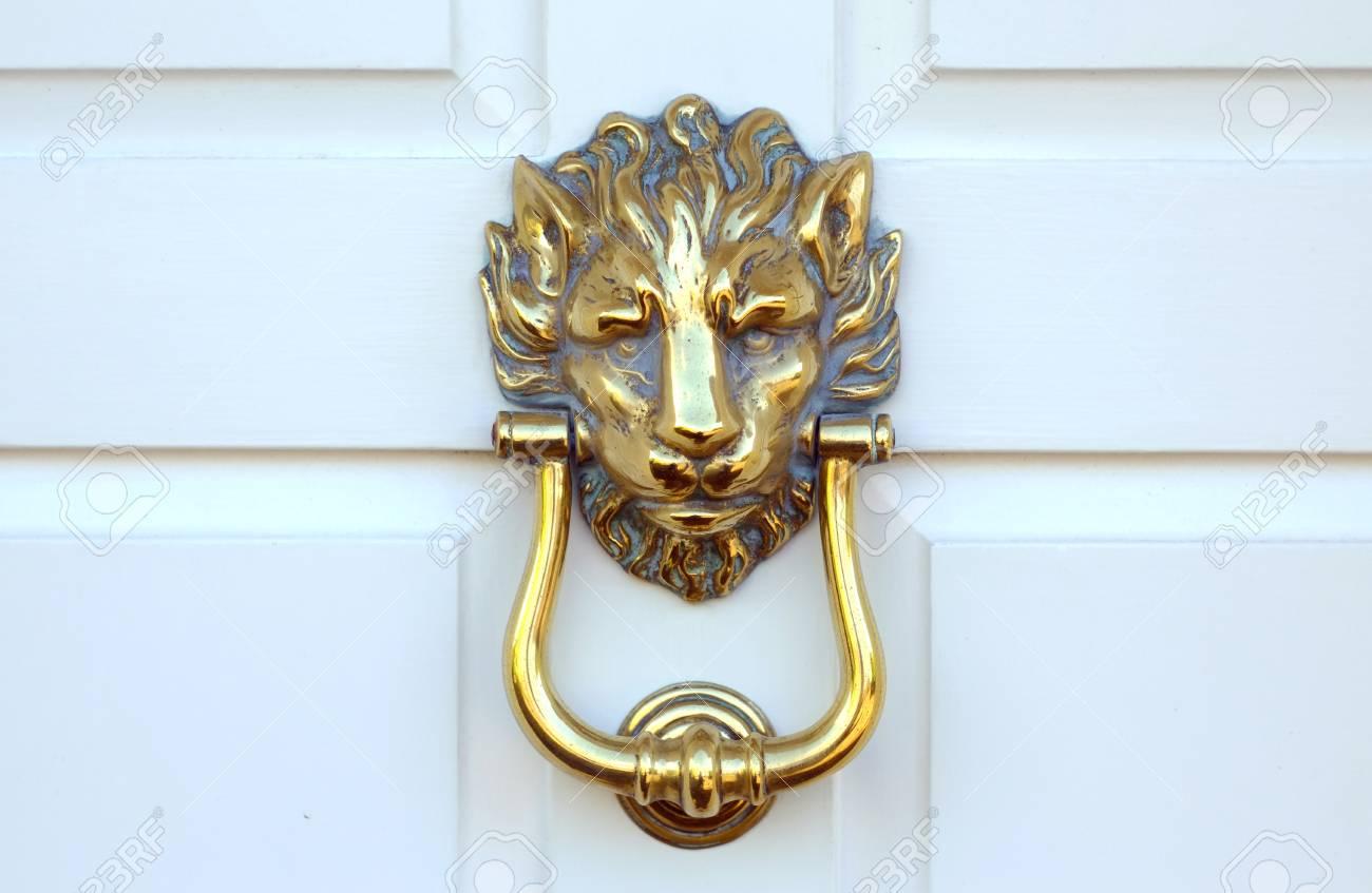 Old Victorian Brass Lion Head Door Knocker