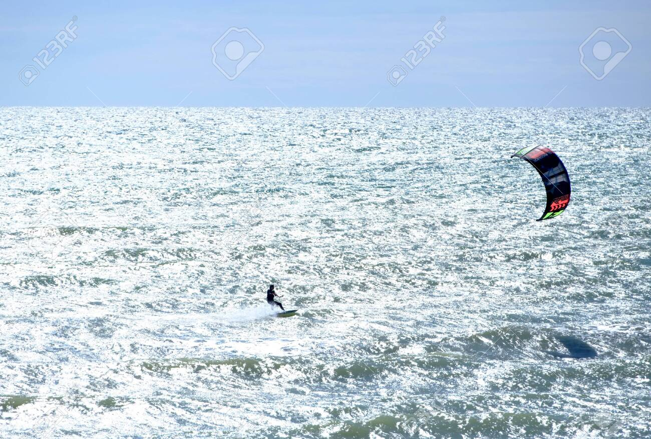 Kite surfer in the English Channel, a