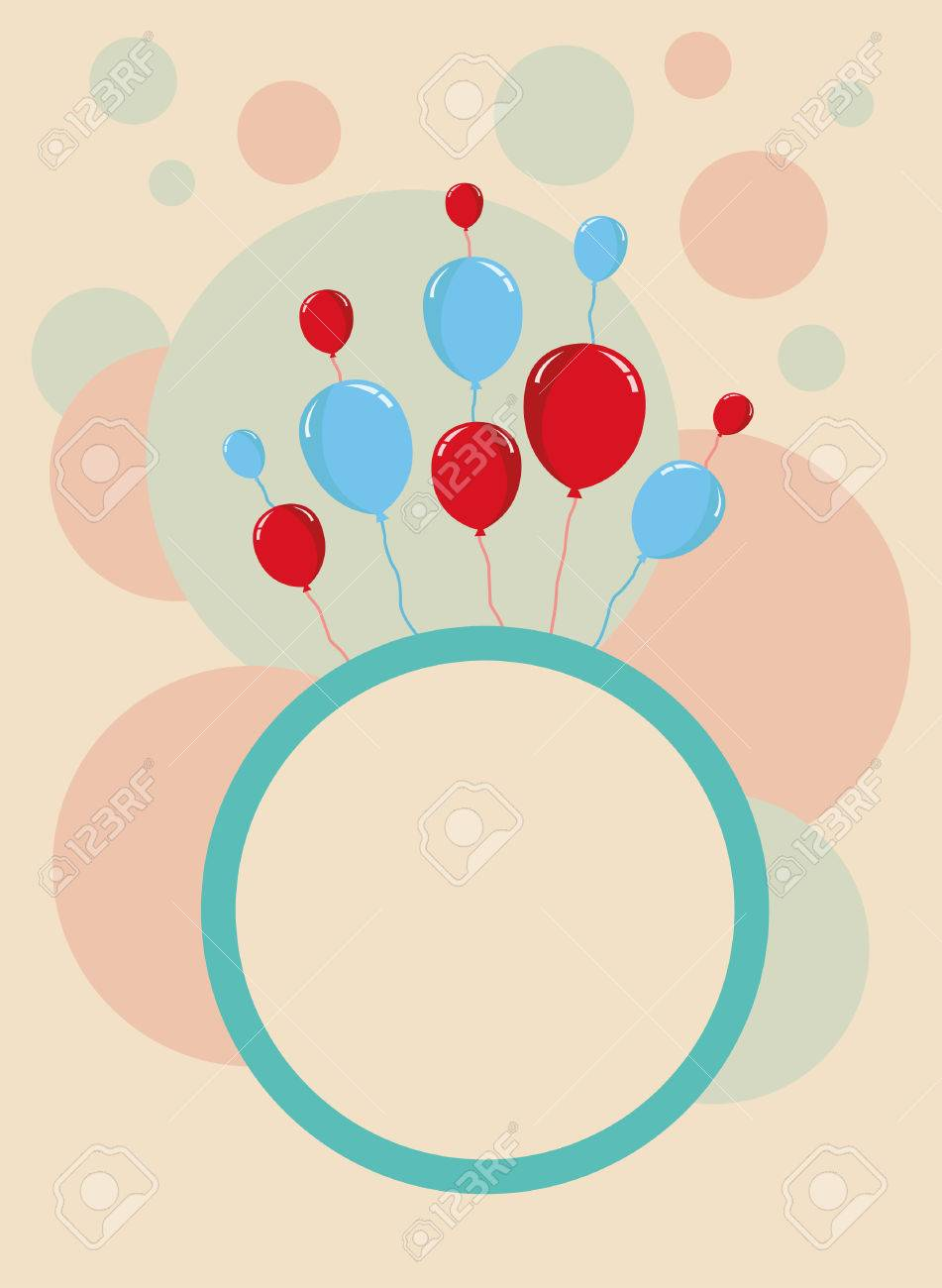 Happy Birthday Card Design Template With Circular Pattern Stock