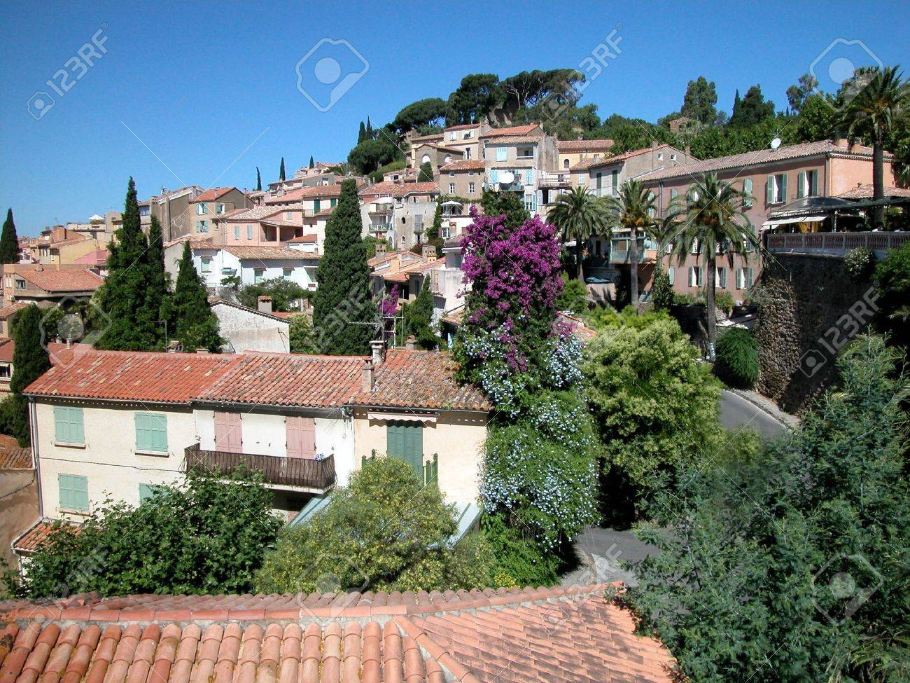 Panoramic view of houses and roofs of Bormes Les Mimosas village, France Stock Photo - 5087718