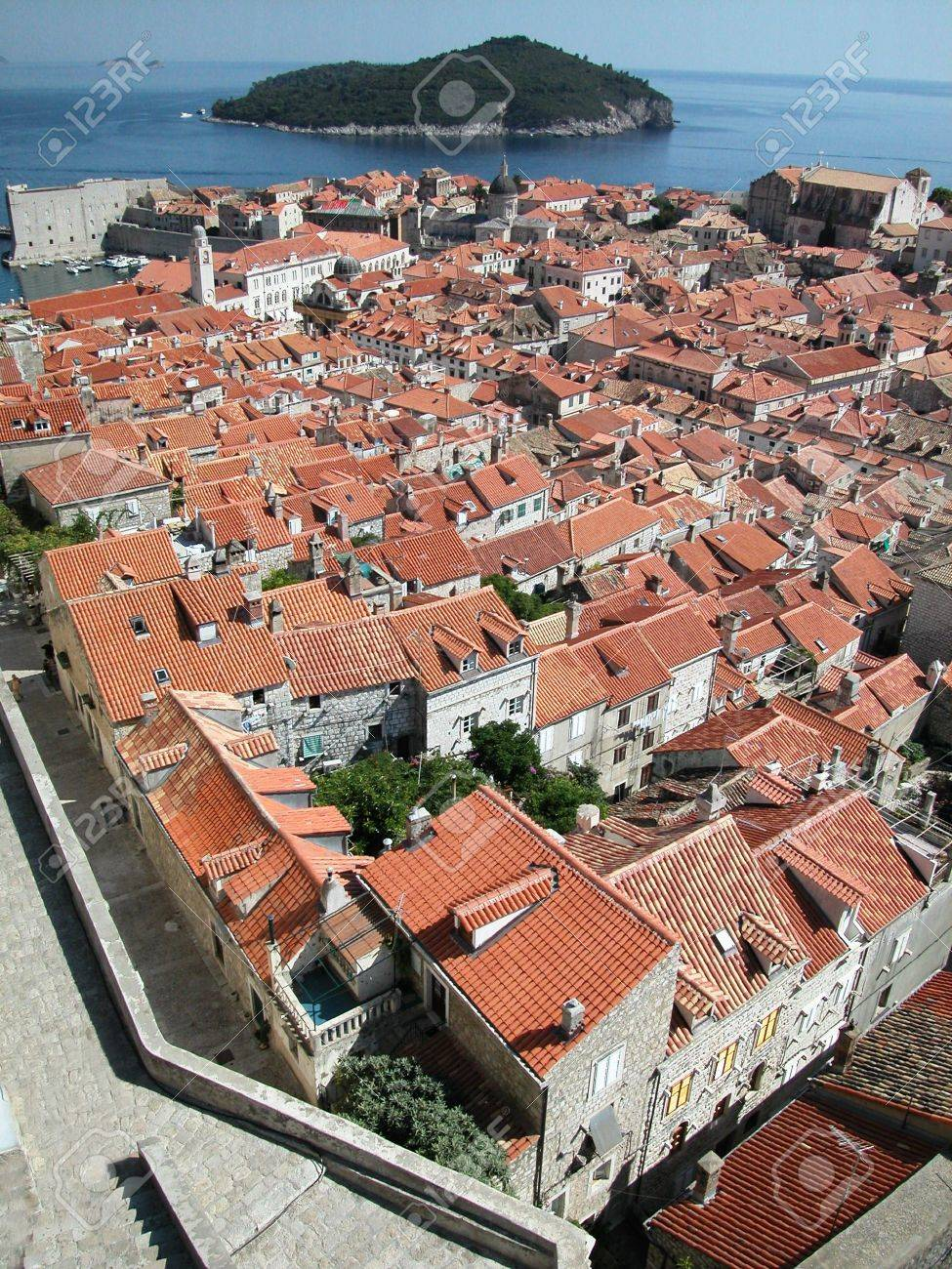 Dubrovnik fortified town view from the ancient wall, Croatia Stock Photo - 5187069