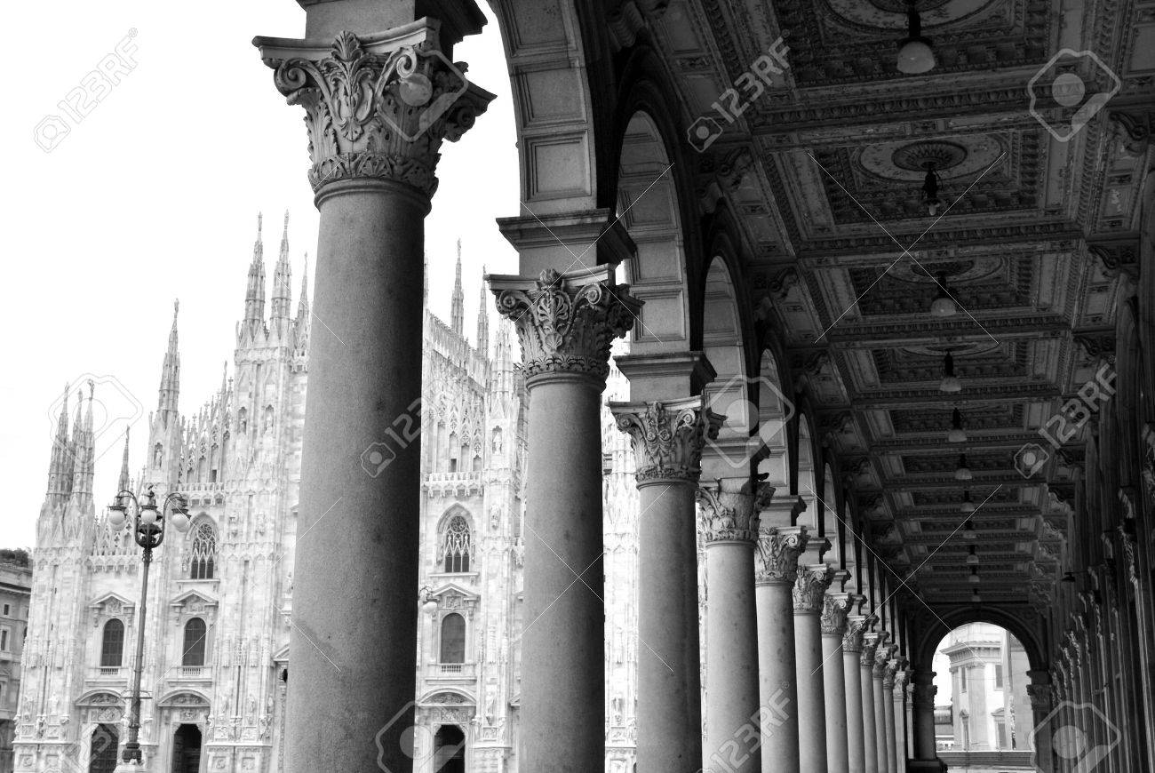 View of ancient arcade and gothic dome of Milan, Italy Stock Photo - 5709811