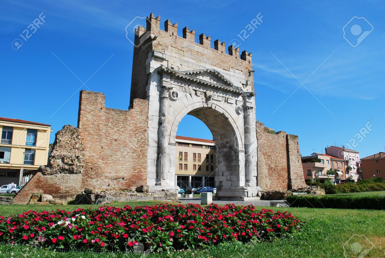 Augustus' triumph arch, historical famous roman landmark, Rimini, Italy Stock Photo - 7739621