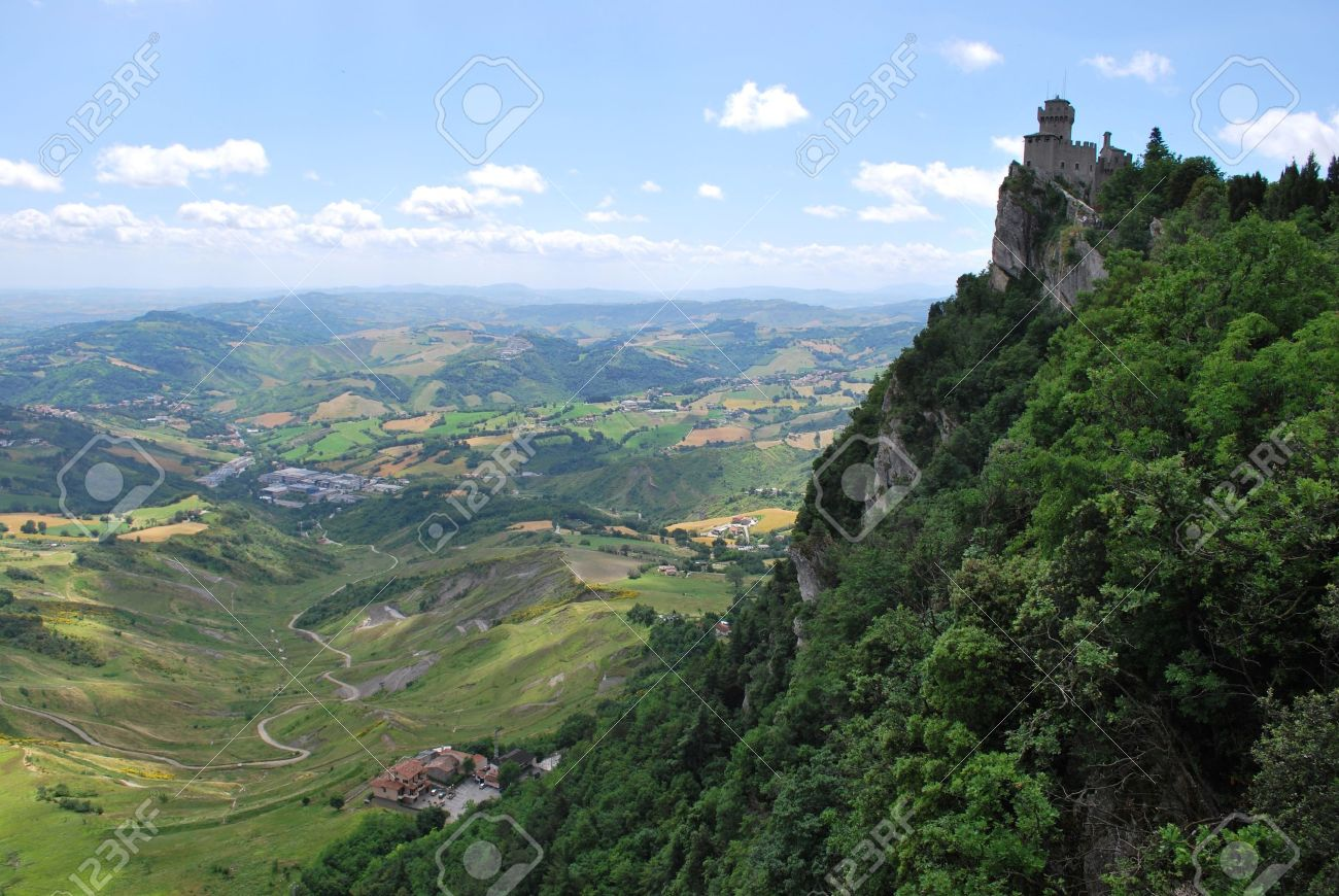 Guaita castle and landscape, San Marino republic, Italy Stock Photo - 7904831