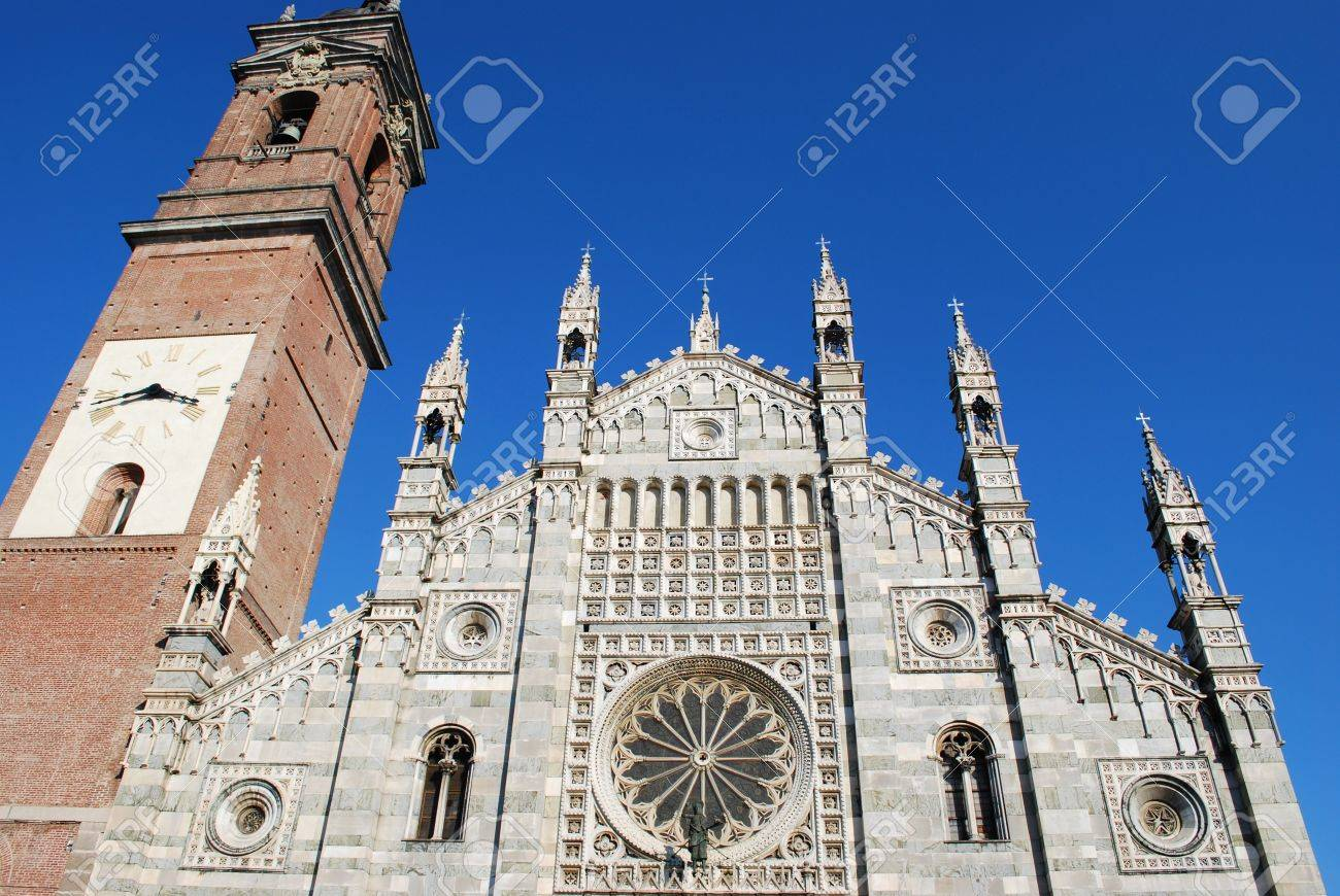 Gothic cathedral facade and bell tower on blue sky, Monza, Lombardy, Italy Stock Photo - 9157946