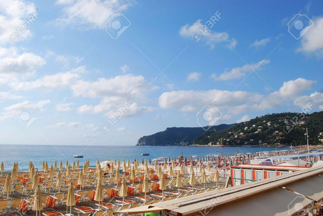 Panorama of Spotorno village and beach, Mediterranean sea, Liguria, Italy Stock Photo - 11570489